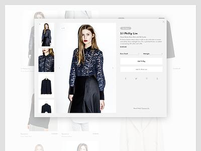 Modal PDP detailpage fashion shop fashion ecommerce e-commerce webshop web shop simple minimal minimalism design ui