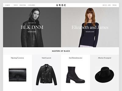 Urge homepage exploration shop minimalism clean ux ui homepage e commerce ecommerce webshop ecom fashion