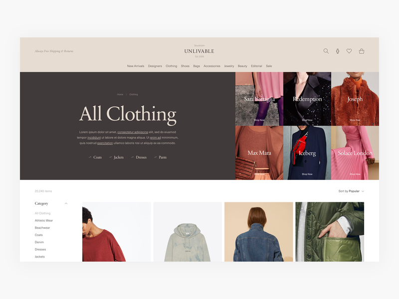 Category Page Exploration - E-commerce design ui e-commerce ecommerce