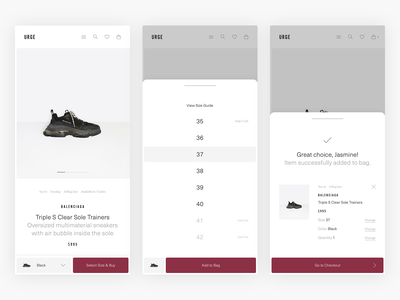 Select Size & Add To Bag - E-Commerce Exploration ux commerce product responsive clean luxury fashion mobile pdp product page shopping simple webshop shop fashion minimal minimalism design ui e-commerce ecommerce