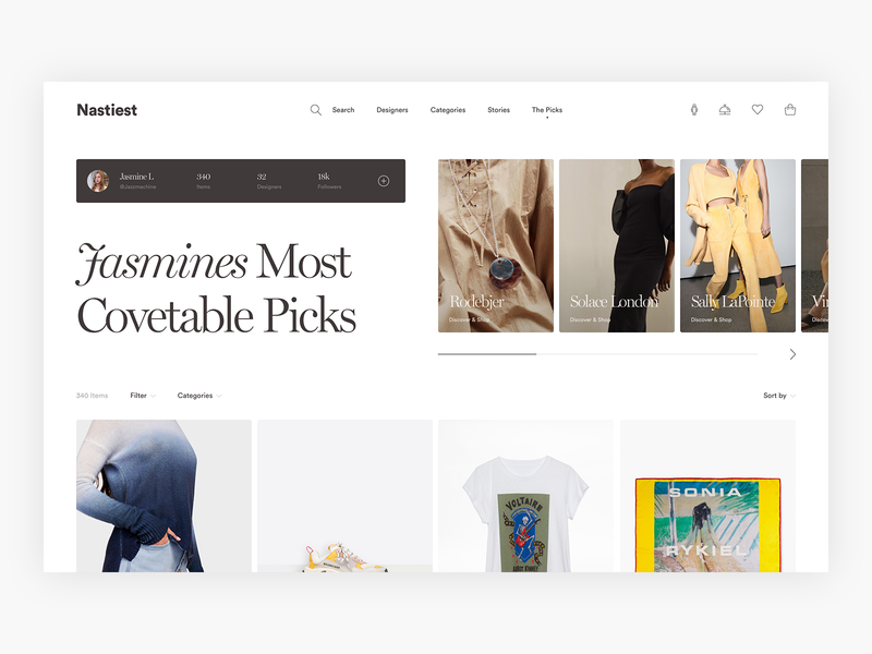 Curated Shopping Page - Exploration E-commerce luxury ux commerce shopping clean simple shop fashion minimal minimalism design ui e-commerce ecommerce