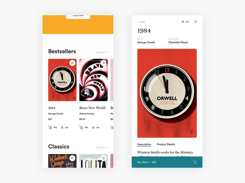 Buy Books - E-commerce Exploration responsive mobile product product card literature product page books commerce shopping shop minimal minimalism design ui e-commerce ecommerce