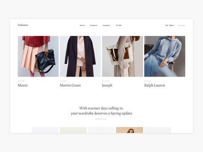 Minimalism Homepage Exploration - E-commerce luxury fashion fashion shop ux shopping commerce web shop clean simple webshop shop fashion minimal minimalism design ui e-commerce ecommerce