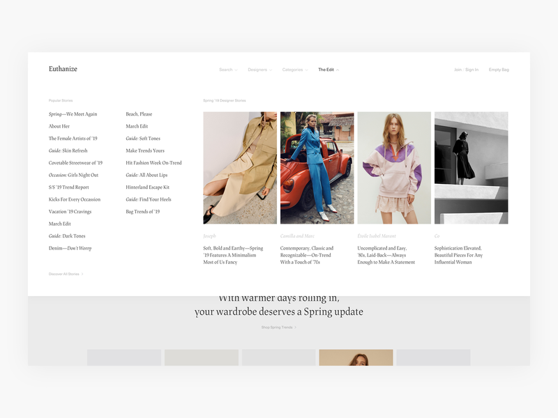 The Edit Menu Exploration - E-commerce luxury fashion uiux web dropdown menu menu fashion shop ux shopping commerce clean simple webshop shop fashion minimal minimalism design ui e-commerce ecommerce