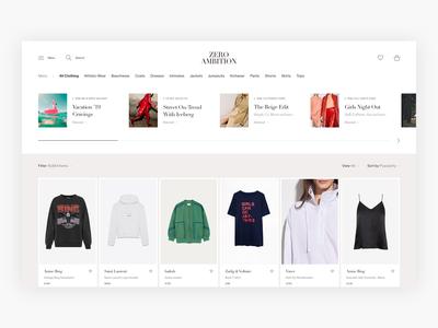 Zero Ambition Category Page Exploration - E-commerce