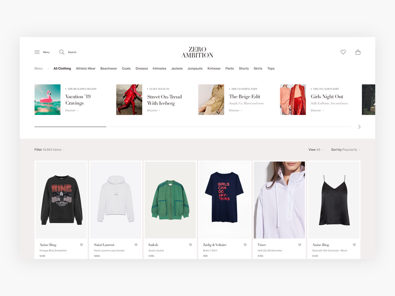 Zero Ambition Category Page Exploration - E-commerce luxury category page fashion shop shopping commerce web shop clean webshop fashion shop minimal minimalism ui design e-commerce ecommerce