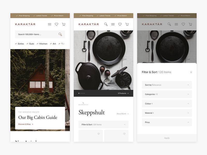 WIP Karaktär Responsive Explorations - E-commerce interior web shop commerce shop app marketplace shop minimal minimalism ui design e-commerce ecommerce