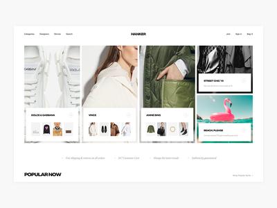 Hanker Homepage Hero Exploration - E-commerce