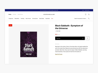 Overindulge - Buy Books Product Page Exploration - E-commerce book store shopping commerce books book ux bookstore bookshop webshop shop minimal minimalism ui design e-commerce ecommerce