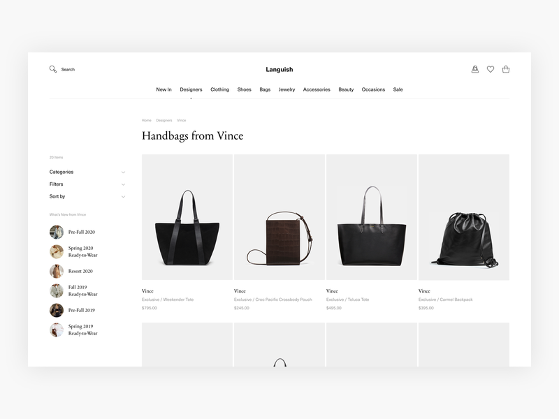Languish - Minimal Designer/Category Page Exploration - E-com luxury fashion luxury commerce web shop clean webshop fashion shop minimal minimalism ui design e-commerce ecommerce