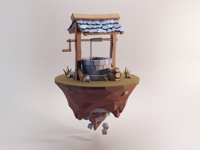 Low Poly Well game art illustration well lowpoly blender 3d