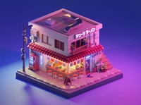 Julie's Ramen at night architecture tokyo lowpoly illustration game art blender 3d