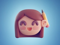 Emote Julie Laugh high poly girl character emote illustration blender 3d