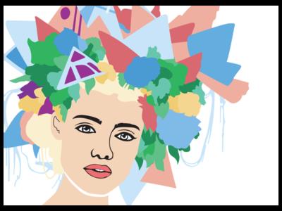 Floral Hair flowers hair girl lines illustrator art portrait creative colour design graphic illustration