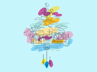 Brighton Bikeshare pencil ipad pro apple lines illustrator art creative colour design graphic illustration