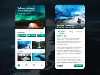 Iceland Travel App iceland travel appdesign travel app uxdesigner uxdaily uidesigner uidesign uidaily ui design app