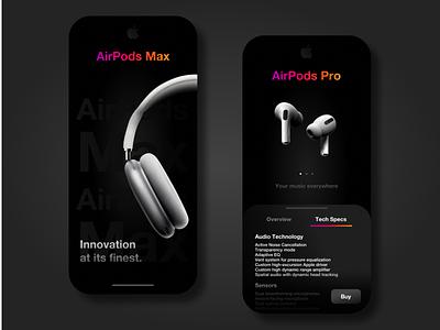 Apple UI Concept music airpodsmax airpodspro apple appdesigner branding appdesign uxdesigner uxdaily uidesigner uidesign uidaily ui design app