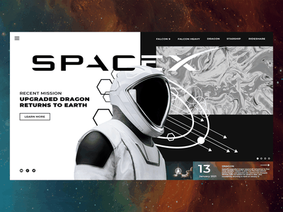 Space X Landing Page Redesign astronaut space spacex elonmusk tesla landingpagedesign landingpage appdesign uxdesigner uxdaily uidesigner uidesign uidaily ui design app