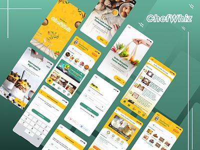 ChefWhiz userinterface simple design figma tutorial figmadesign chefwhiz recipe app cook app chef cook ui ux design ui design uiux ui illustration figma design app design branding app design android app
