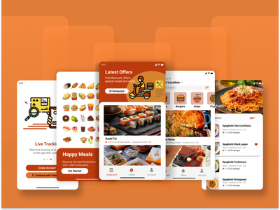 Happy Meals - Food Delivery App foodie order food deliver food and drink gofood userexperience userinterface delivery food delivery app food app uiux ui design ui figmadesign figma design app design branding app design android app