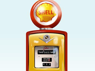 50's style Shell petrol pump