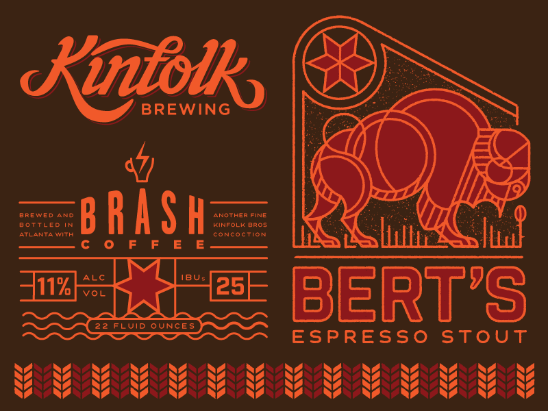 Kinfolk - Bert's Branding  beer brewery buffalo illustration lettering coffee logo