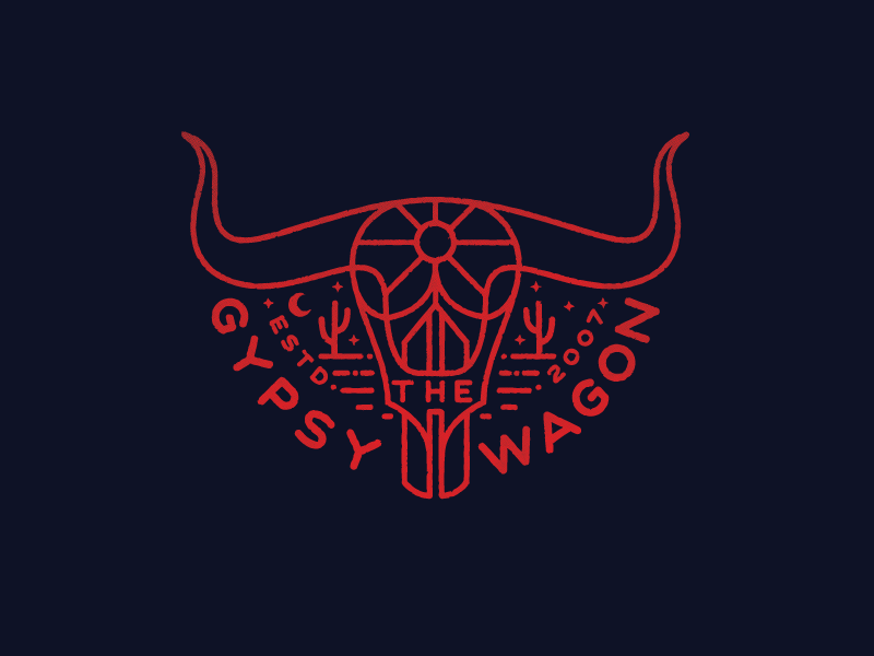 The Gypsy Wagon  cow skull illustration cactus sun moon