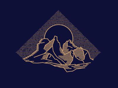 Midnight Sun alaska mountain sun illustration