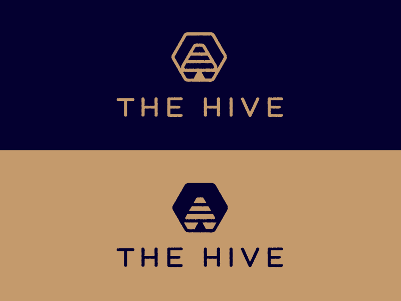 The Hive lettering hive bees hexagon illustration mark logo