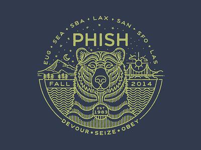 Phish Fall Tour Shirt phish bear illustration monoline mono line