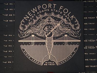 Newport Folk Festival art print mermaid illustration banjo sea newport