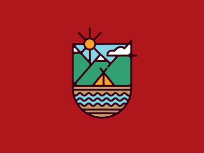 Let's go camping river mountains badge illustration camp