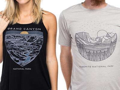 Sevenly National Parks grand canyon national parks illustration yosemite