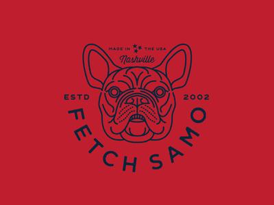 Fetch Samo! french bulldog mark logo illustration dog