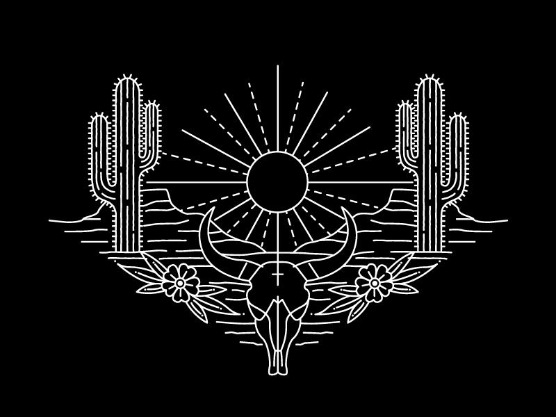 black heart sun monoline desert illustration
