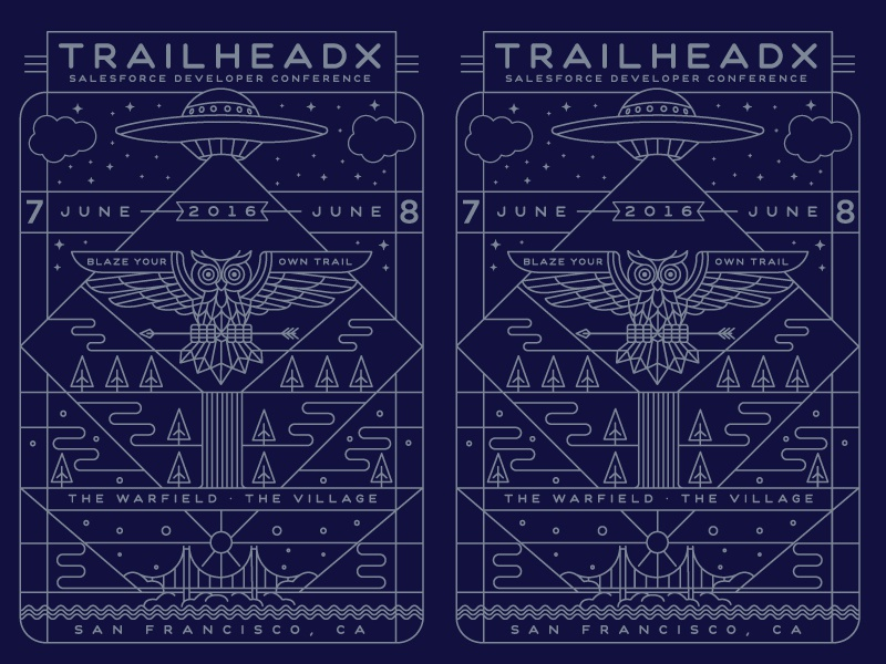 TrailHeaDX poster poster mountains waterfall ufo owl salesforce