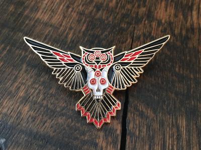 Owl & Goat pin