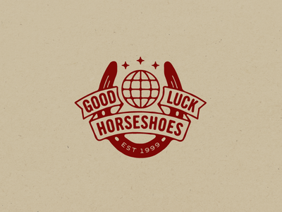 Good Luck  good luck mark logo globe horseshoe