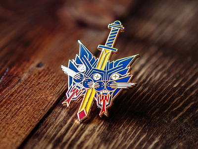 Death to the two-headed cat  ouch pin dagger cat