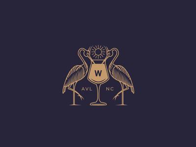 share a drink mark logo drink wine beer bird heron