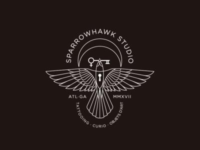 SparrowHawk Studio⚡️ sparrow logo mark key moon bird
