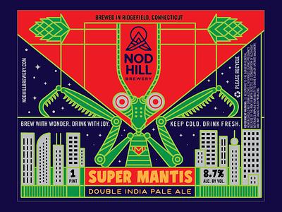 Nod Hill Super Mantis DIPA mantis label branding beer