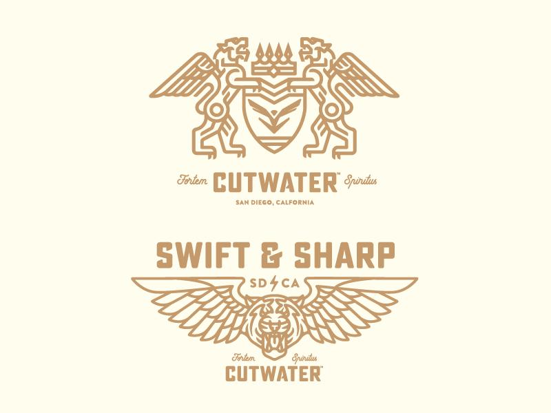 Cutwater Spirits mark logo cat wings tiger