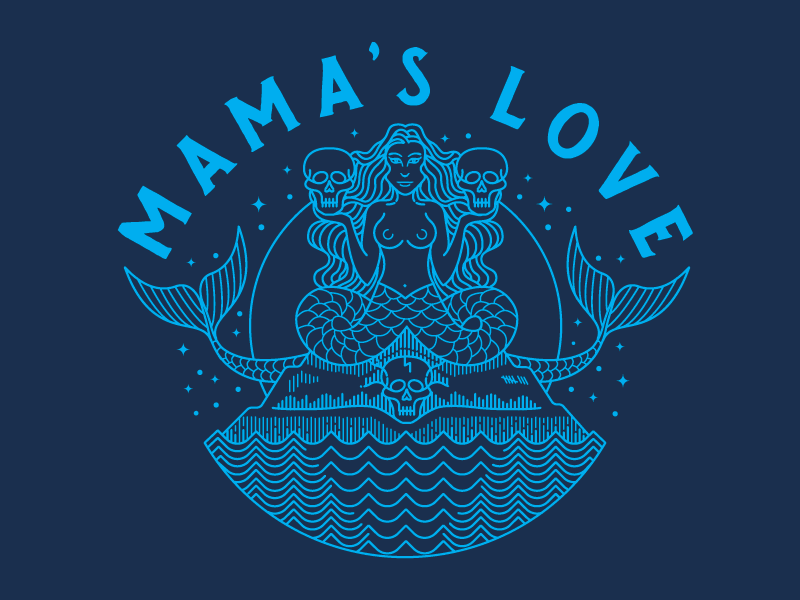 Mama's Love Sirens illustration skulls siren
