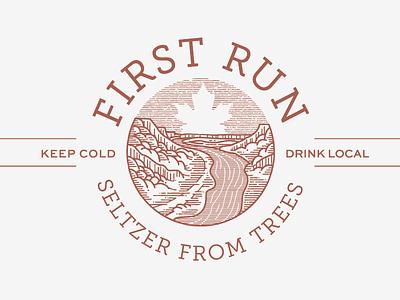 First Run Seltzer label illustration