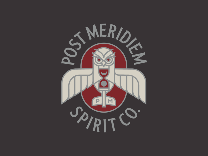 Post Meridiem Spirit Co. owl cocktail spirits logo