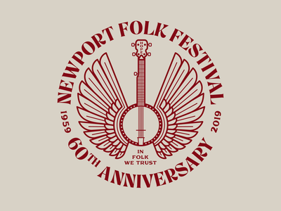 Newport Folk Festival Flying Banjo flying wings illustration newport banjo