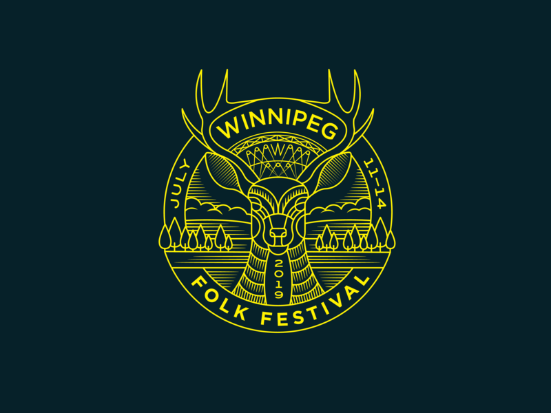 Winnipeg Folk Festival stage deer festival illustration