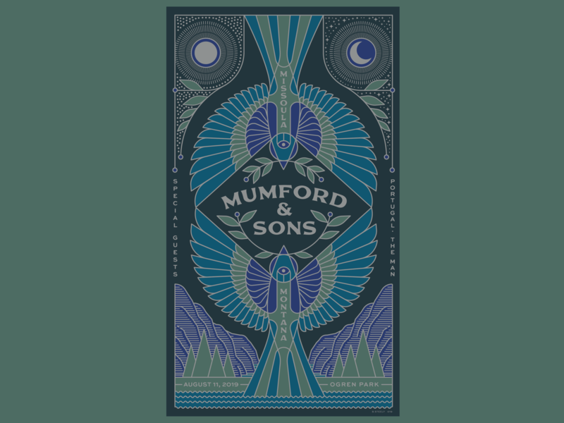 Mumford and Sons Missoula poster band birds illustration poster art