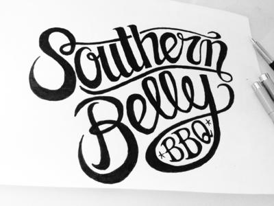 Southern Belley (WIP) hand-drawn custom-type type typography bbq barbecue southernbelle southern